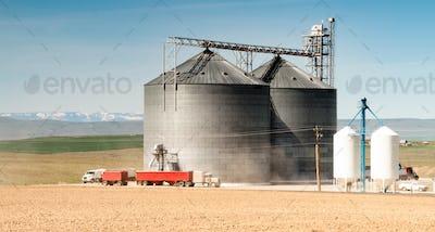 Silo Grain Elevator Food Storage Agriculture Industry Truck Transport