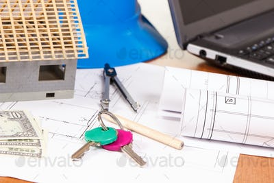 Home keys, currencies dollar, electrical diagrams and accessories for engineer jobs