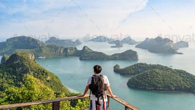 Man tourist on peak island