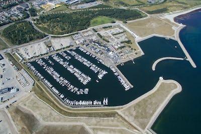 Aerial view of Koege marina, Denmark