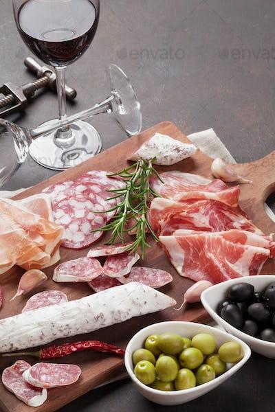 Salami, sausage, prosciutto and wine