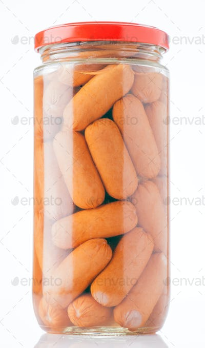 frankfurters preserved in glass jar