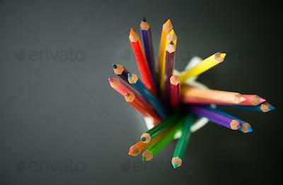 Color pencils in a cup