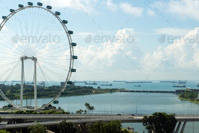 Singapore flyer and cityscape