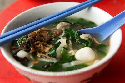 Asian noodle soup, pan mee