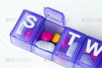Closeup of pills box