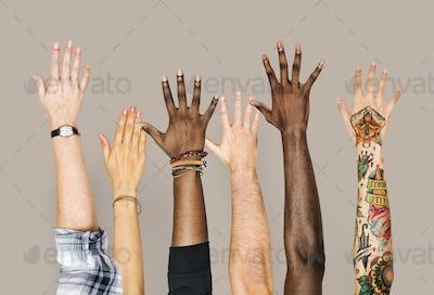 Diversity hands raised up gesture