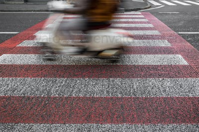 Small motorcycle on road