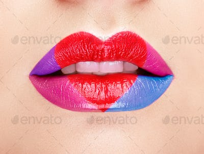 Lips painted with a lipstick heart