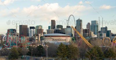 Amusement Park Steel Rails Downtown City Skyline Denver Colorado