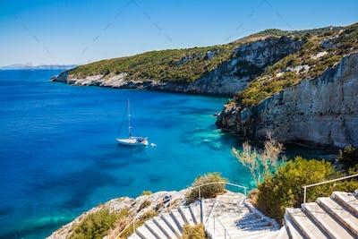 View of  Agios Nikolaos blue caves  in Zakynthos (Zante) island,