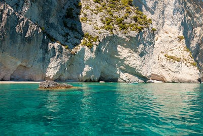 View of  Keri blue caves  in Zakynthos (Zante) island, in Greece