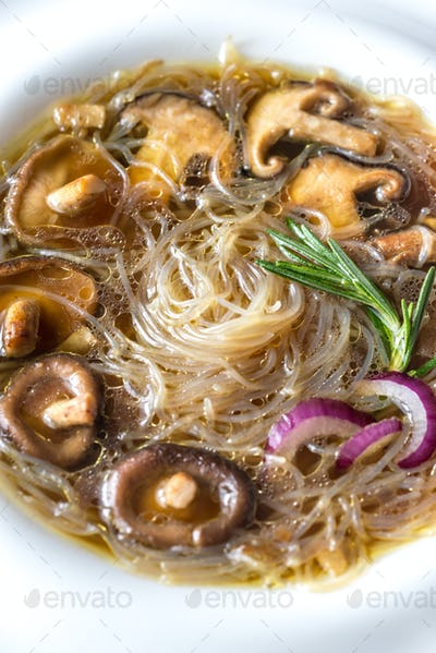 Portion of shiitake ginger soup
