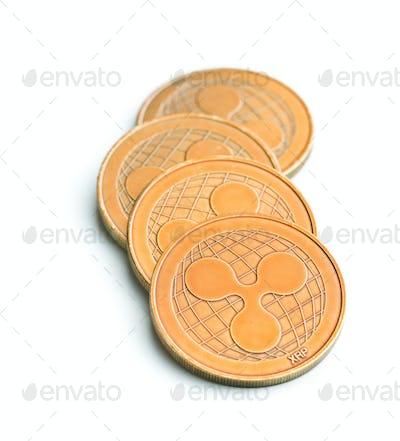 Golde ripple coins.