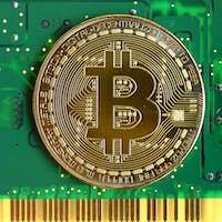 Bitcoin with green circuit board