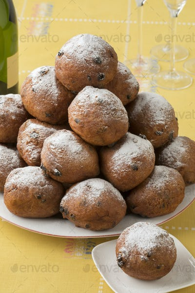 Dish with oliebollen, traditional Dutch pastry for New Year's Ev