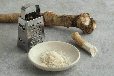 Grated fresh picked horseradish