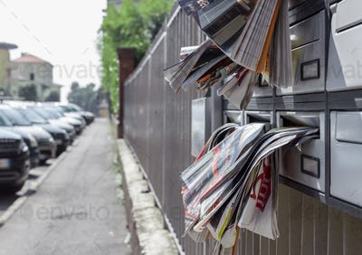 Many leaflets in mailbox