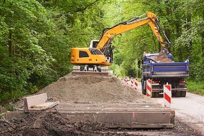 excavator loading earth