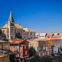 Church above hillside homes in Valparaiso