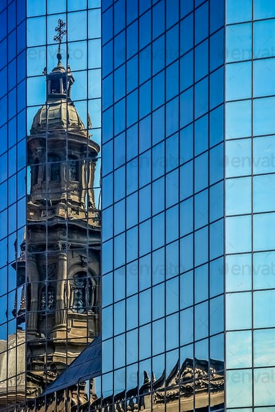 Santiago cathedral tower reflection