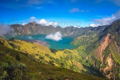 View of the caldera of Gunung Rinjani volcano