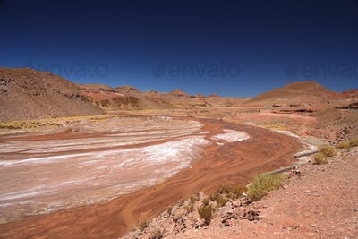 Riverbed of a red river in Argentina
