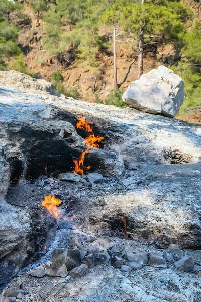 Eternal natural fire flames  of Chimaera Mount