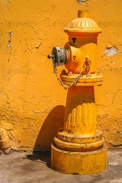 Yellow hydrant in front of the yellow building