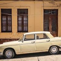 Old retro vintage car in Valparaiso