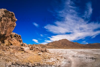 Dry land plain in the Altiplano mountains