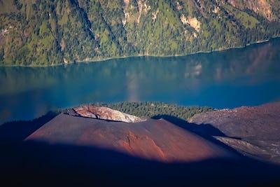 The cone  of Gunung Rinjani volcano in Lombok