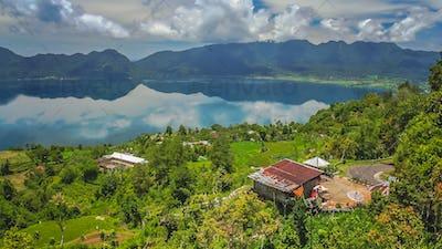 Indonesian home above volcanic Lake Maninjao
