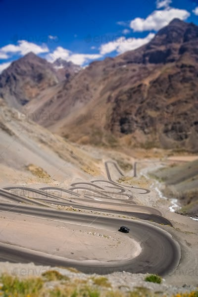 Switchbacks in chilean Andes