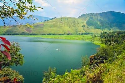 Shore of the magnificent Lake Toba in Sumatra