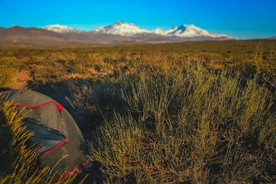 Camping on a pampa in Argentina