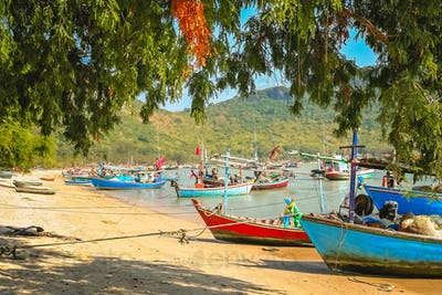 Colorful fishing boats on the beach in Thailand