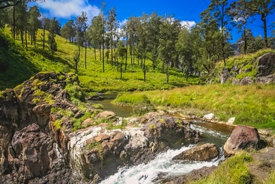 Stream and waterfall on the slopes of Gunung Rinjani