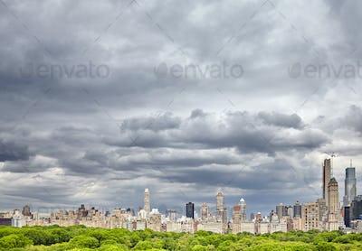 Stormy sky over Manhattan skyline, New York, USA.