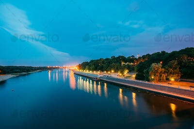 Scenic Evening View Of Sozh River, Illuminated Embankment, Park,