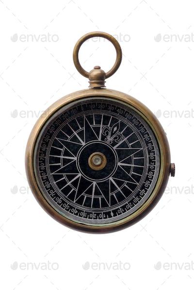Round bronze compass