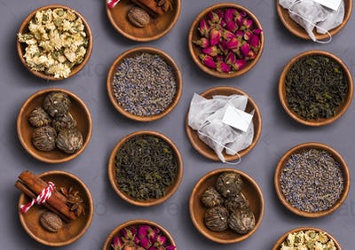 Assortment of dry tea in little bowls