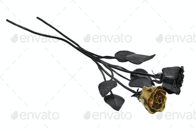 Forged roses on a white background