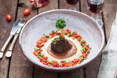 Lamb casserole with eggplant puree with fresh vegs