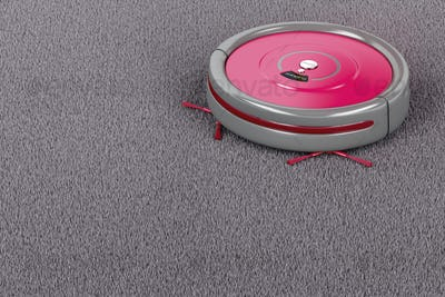 Robot vacuum cleaner on the carpet