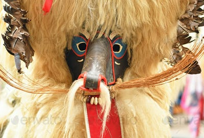 Close-up of traditional carnival mask, called Kurent, Slovenia