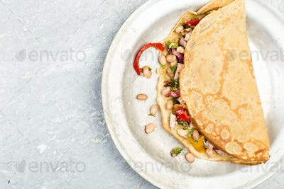 Buckwheat Pancake. Mexican Quesadilla.