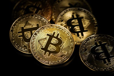 Golden bitcoins. Coin of cryptocurrency.