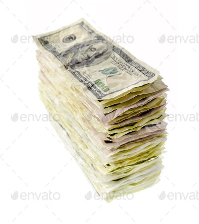 Stack of one-hundred dollar bills