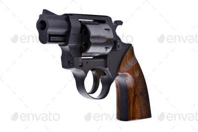 Black revolver isolated on a white background